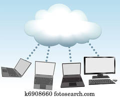 Computers connect to cloud computing technology