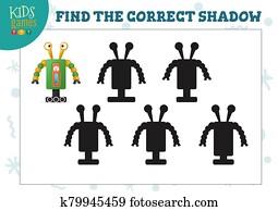 finden, dass, korrekt, schatten, für, niedlich, karikatur, roboter, erzieherisch, vorschulisch, kinder, mini, spiel