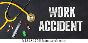 Stethoscope and pharmaceuticals on a blackboard - Work accident