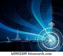 technologie, blau