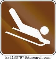 United States MUTCD guide road sign - Sledding