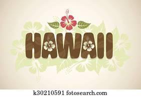 Vector Hawaii word with hibiscus