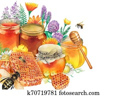 Watercolor honey bottles surrounded by honeycombs, meadow flowers and bees