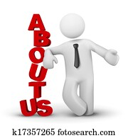 3d business man presenting concept of about us