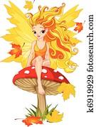 Autumn Fairy on the Mushroom