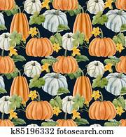 Beautiful autumn seamless pattern with watercolor pumpkin vegetables, leaves and flowers . Stock illustration.