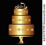 Cake in gold logo design