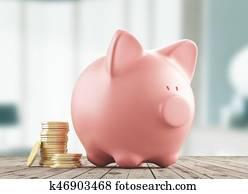 Piggy bank with money, savings