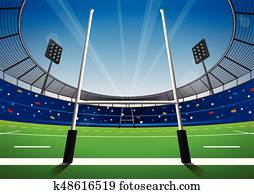 rugby- feld, mit, hell, stadium.