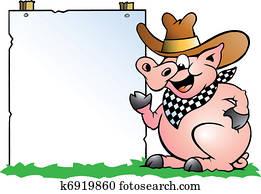 schwein, küchenchef, vor, a, zeichen