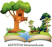 Treehouse by the river on a book