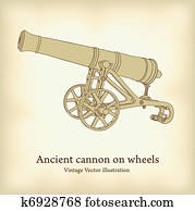 Antique cannon on wheels.