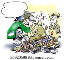 Auto mechanic changing a car engine
