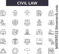 Civil law line icons, signs set, vector. Civil law outline concept, illustration: lawyer, business, law, judge, criminal, civil, court, line