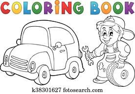 Coloring book car mechanic