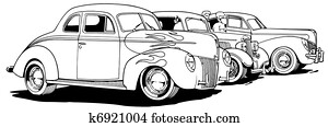 Parked Hot Rods