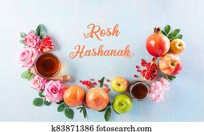 Rosh hashanah (jewish New Year holiday), Concept of traditional or religion symbols on pastel blue background.