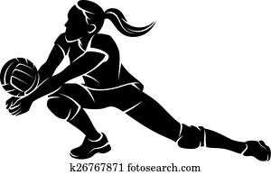Volleyball Dig Girl Silhouette