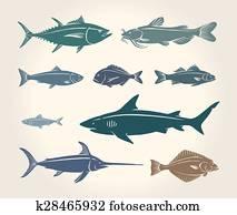altmodisch, abbildung, von, fische