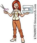 Cartoon seamstress