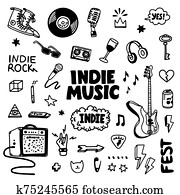 Indie rock music tatoos set. Black and white illustration of music related objects such as guitar, sound amplifier, rock inscriptions. Template for tattoo list, card, poster, t-shirt print, pin badge patch. Vector.