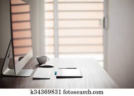 Workspace of a photo retoucher