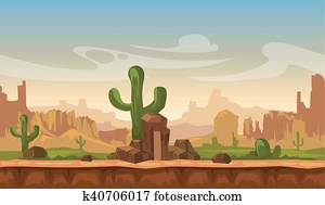 Cartoon america prairie desert landscape with cactus, hills and mountains. game seamless vector background