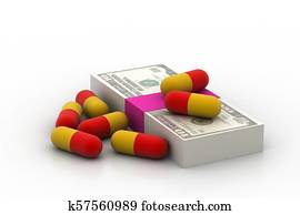 currency with medicine capsule
