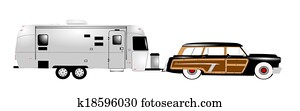 retro rv with woody station wagon