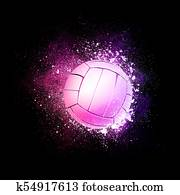 Volleyball Ball flying in violet particles.