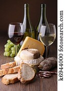wine, cheese and sausage