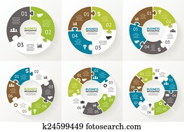 Circle puzzle infographic. Diagram, presentation.