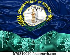 enlarged coronavirus, covid-19 under the flag of Kentucky state. Pandemic of respiratory disease
