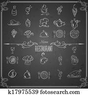Restaurant menu design elements with chalk drawn food and drink icons on blackboard