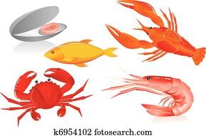 seafood:, oyster,, shrimp,, crawfish,, krabbe, und, fische