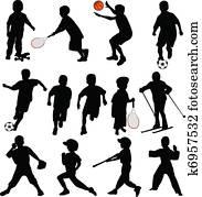 Sport kids silhouettes
