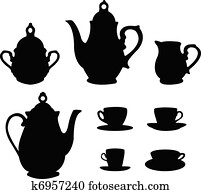 Tea or coffee set silhouettes
