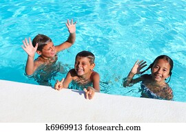 children playing in a pool