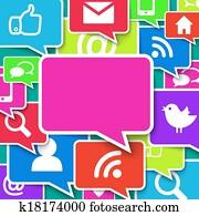 Communication icons over blue background