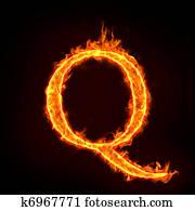 fire alphabets, Q