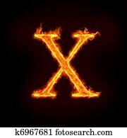 fire alphabets, X