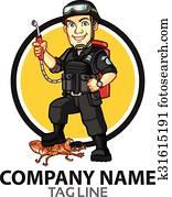 Pest Control Cartoon Logo