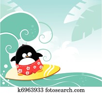 surfen, pinguin