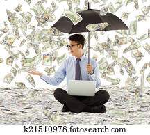 Money Raining Down Asian Man Images And Stock Photos 17801 Money