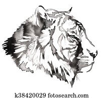black and white painting with water and ink draw tiger illustration