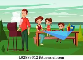 Family barbecue picnic cartoon illustration