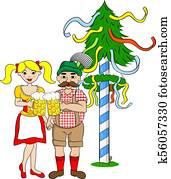 Maibaum Clip Art Illustrationen. 51 maibaum Clipart EPS ...