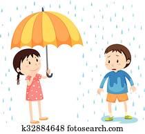 Girl and boy in the rain