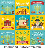Hanukkah banner set, flat style