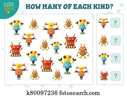 How many of each kind cartoon robot kids counting game vector illustration